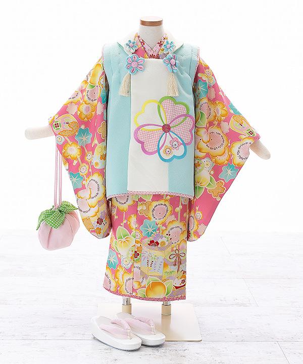 七五三(三歳女の子)着物レンタル 【乙葉】ピンク着物×水色被布