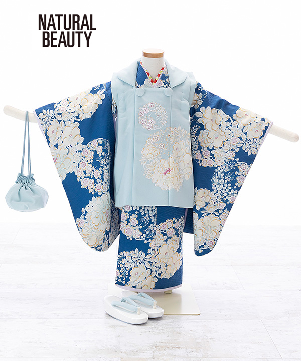 七五三(三歳女の子)着物レンタル 【NATURAL BEAUTY】青着物×水色被布