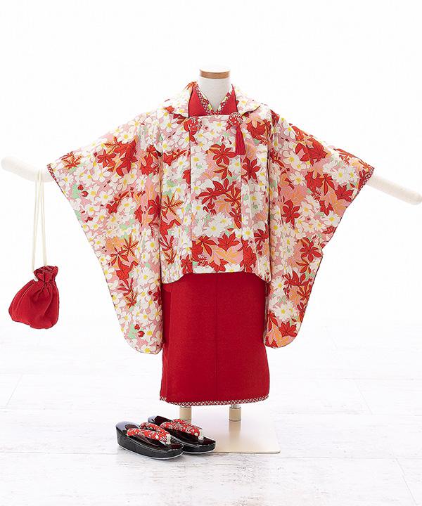 七五三(三歳女の子)着物レンタル 【榛原】赤着物×ピンク被布