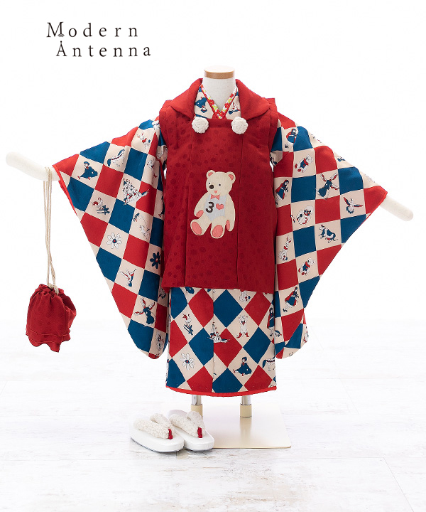 七五三(三歳女の子)着物レンタル 【Modern Antenna モダンアンテナ】ダイヤ柄着物×くまの赤色被布
