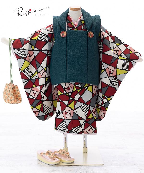 七五三(三歳女の子)着物レンタル 【ラフィネココ】ステンドグラス柄着物×深緑色被布