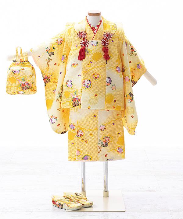 七五三(三歳女の子)着物レンタル 黄色着物×黄色被布