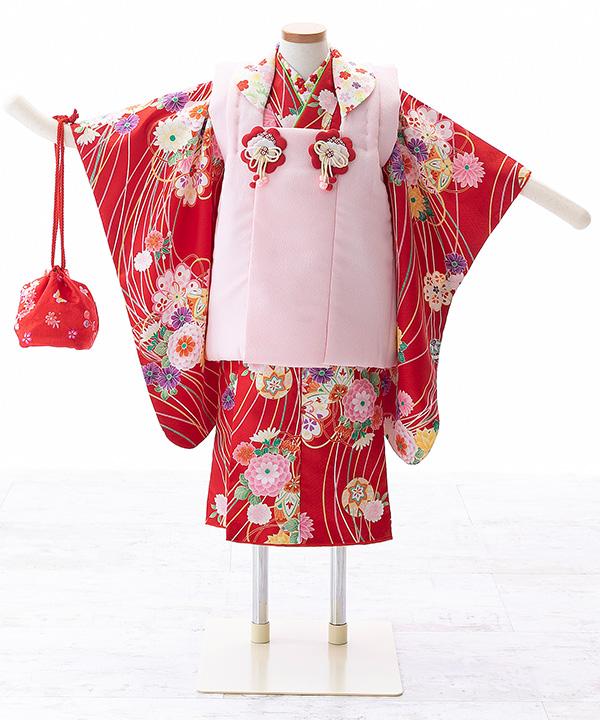 七五三(三歳女の子)着物レンタル 赤着物×ピンク被布