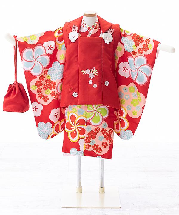 七五三(三歳女の子)着物レンタル ねじり梅の赤着物×赤被布