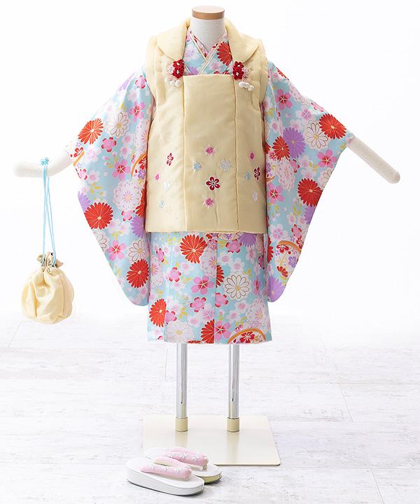七五三(三歳女の子)着物レンタル 花柄文様の水色着物×クリーム色被布