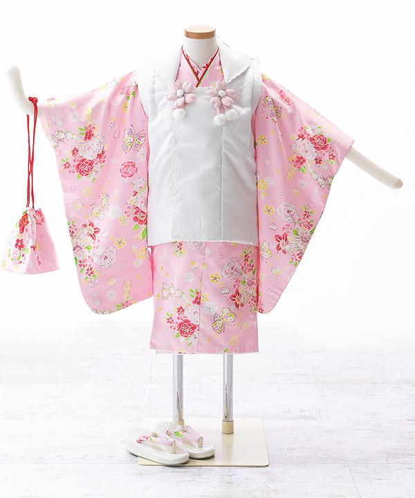 七五三(三歳女の子)着物レンタル ピンク着物×白被布