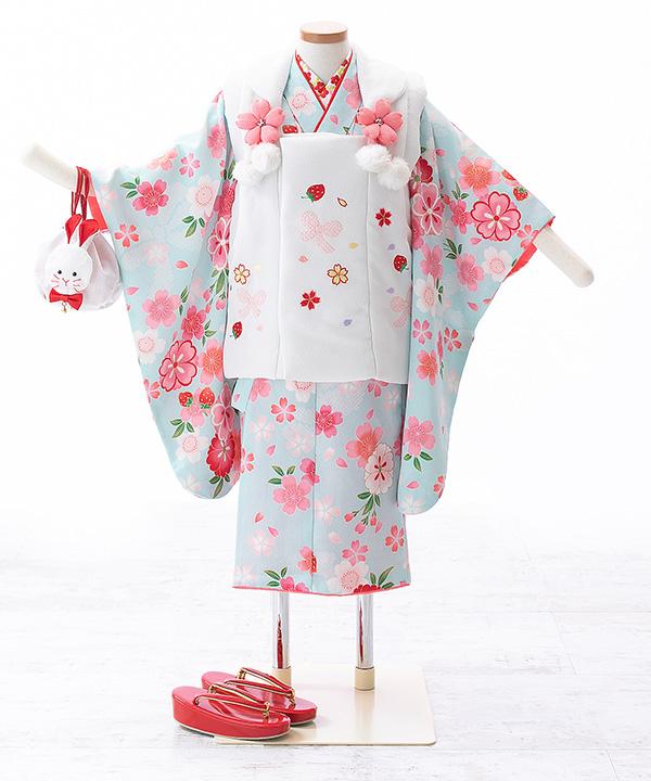 七五三(三歳女の子)着物レンタル|桜柄の水色着物×白被布