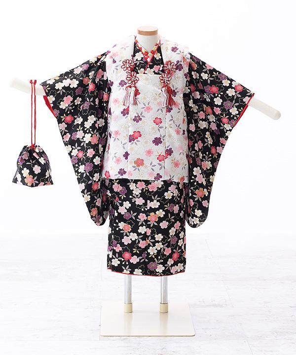 七五三(三歳女の子)着物レンタル 黒着物×白被布