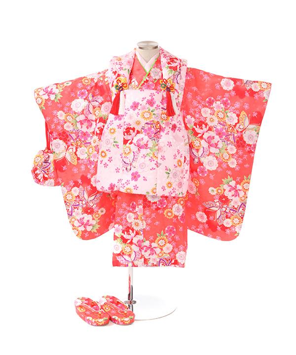 七五三(三歳)|桜柄ピンク色着物×薄ピンク被布|W-G-3-81