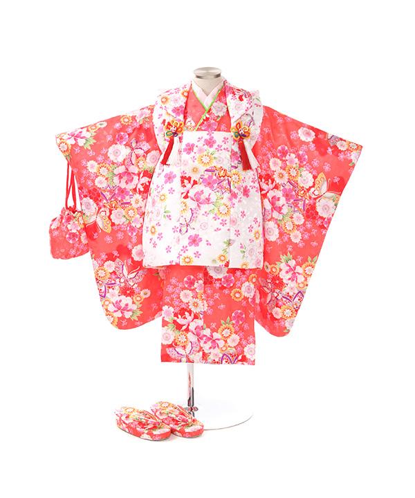 七五三(三歳女の子)着物レンタル|桜柄ピンク色着物×白被布