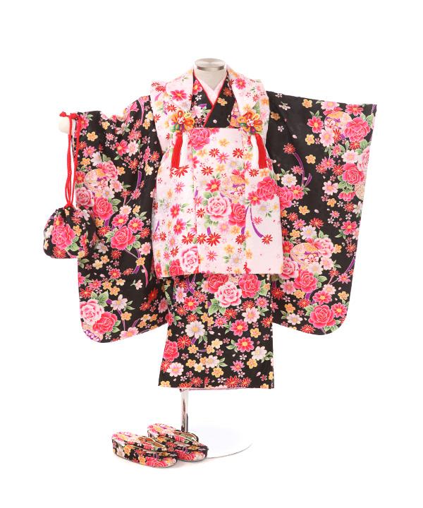 七五三(三歳女の子)着物レンタル|バラ柄黒着物×ピンク被布