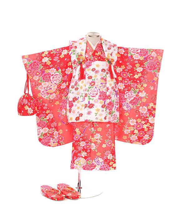 七五三(三歳女の子)着物レンタル|鈴と花柄ピンク色着物×白被布