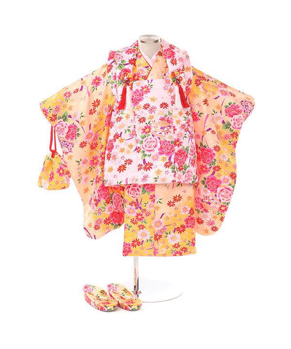 七五三(三歳女の子)着物レンタル|鈴と花柄山吹色着物×ピンク被布