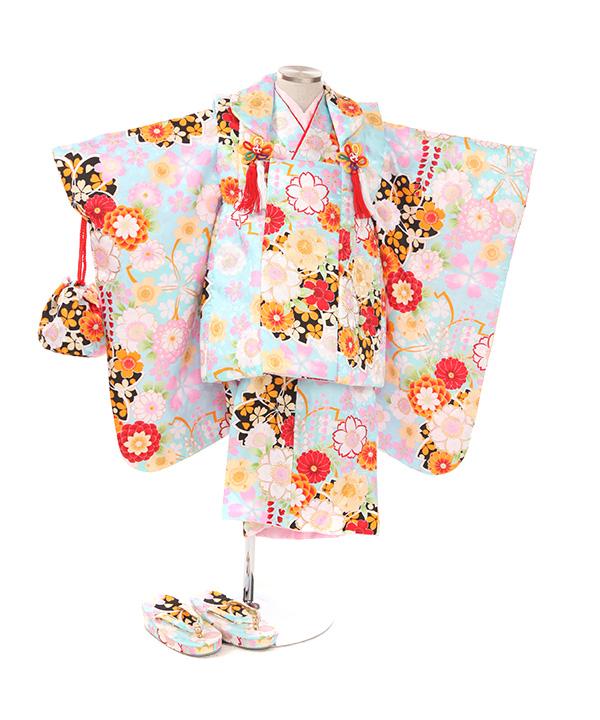 七五三(三歳女の子)着物レンタル|桜柄水色着物×水色被布