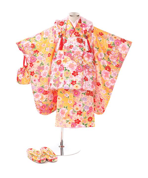 七五三(三歳女の子)着物レンタル|桜菊柄黄色着物×ピンク被布