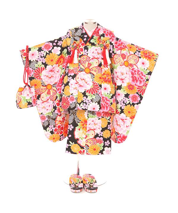 七五三(三歳女の子)着物レンタル|桜牡丹菊柄黒色着物×黒被布