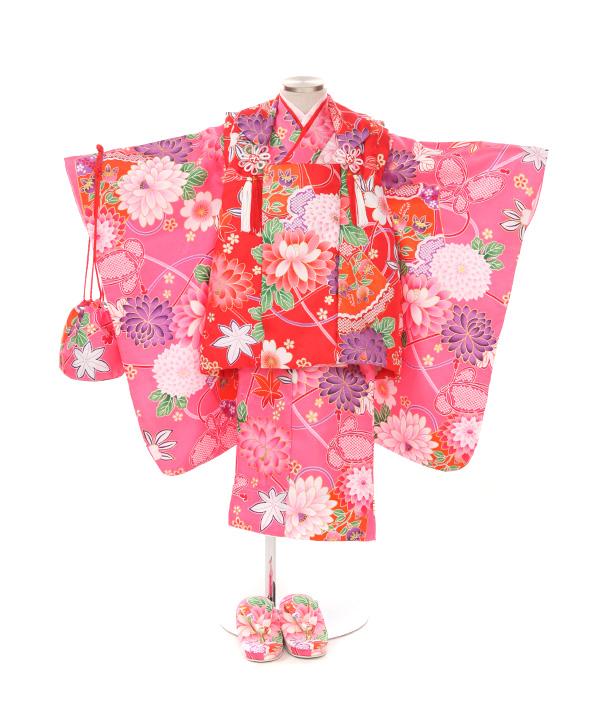 七五三(三歳女の子)着物レンタル|菊柄ピンク色着物×赤被布