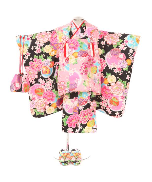七五三(三歳女の子)着物レンタル|牡丹に貝合わせ黒色着物×ピンク被布