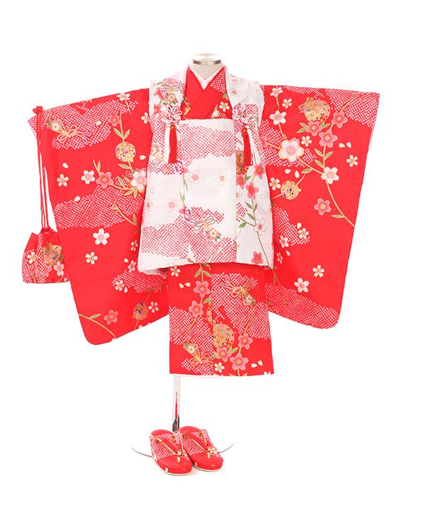 七五三(三歳女の子)着物レンタル)|雲取り赤色着物×白被布