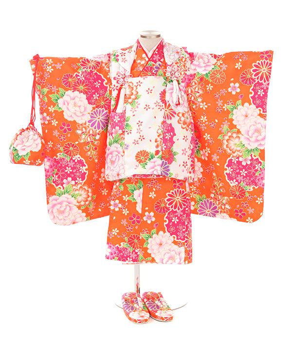 七五三(三歳女の子)着物レンタル|ボタンに雪輪オレンジ着物×白被布