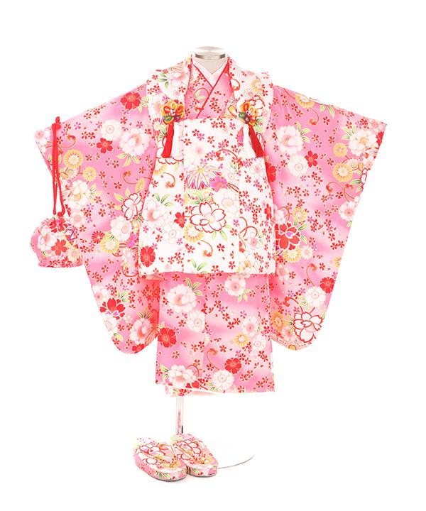 七五三(三歳女の子)着物レンタル|桜柄ピンク着物×白被布