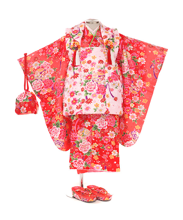 七五三(三歳女の子)着物レンタル|鈴と花柄ピンク着物×ピンク被布