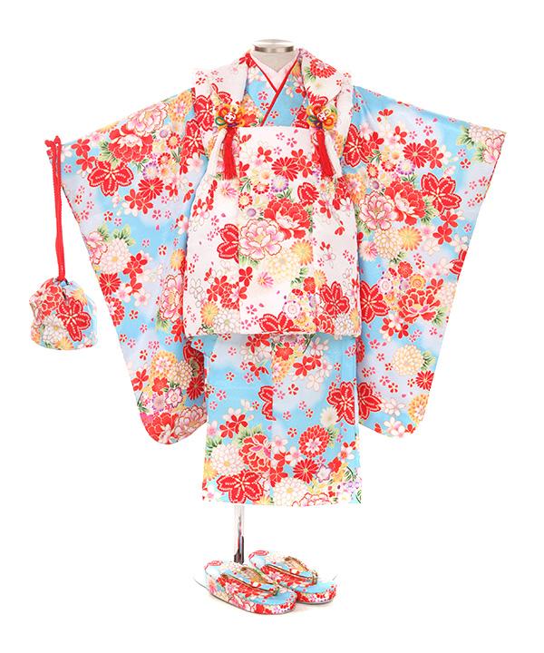 七五三(三歳女の子)着物レンタル|牡丹柄水色着物×白被布