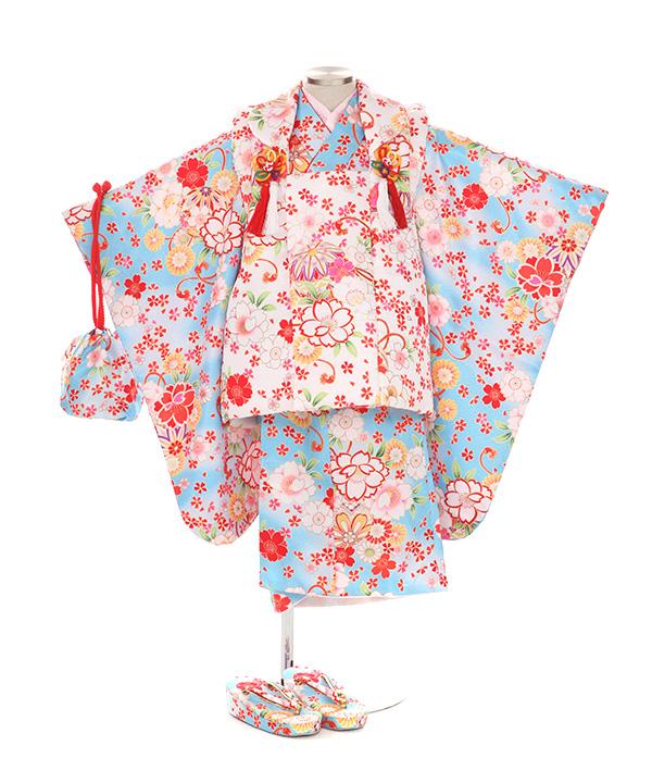 七五三(三歳女の子)着物レンタル|桜に鞠柄水色着物×白被布