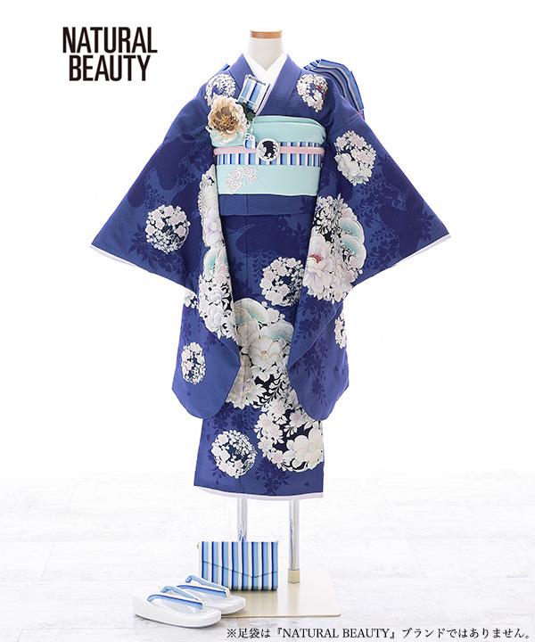 七五三(七歳)   【NATURAL BEAUTY】青に花丸柄着物×水色作り帯   W-G-7-32