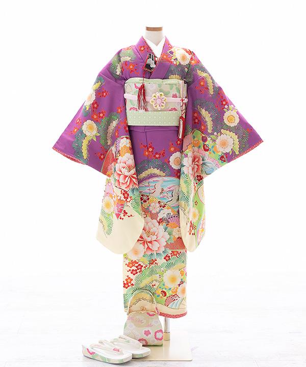 七五三(七歳)   【乙葉】紫に扇と松梅柄着物×クリーム色作り帯   W-G-7-33