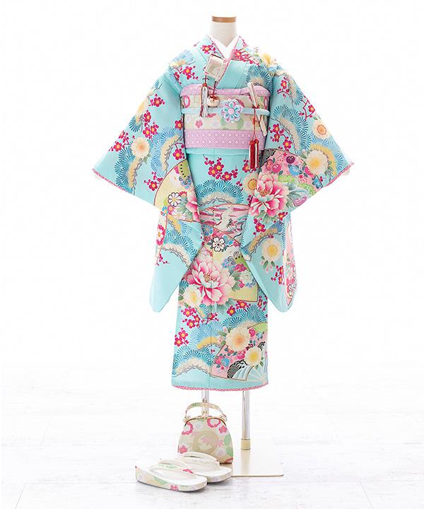 七五三(七歳)   【乙葉】水色に扇と松梅柄着物×クリーム色作り帯   W-G-7-34