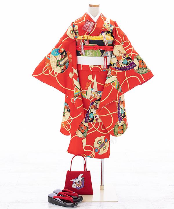 七五三(七歳女の子)着物レンタル|【紅一点】赤に折り鶴柄着物×黒作り帯