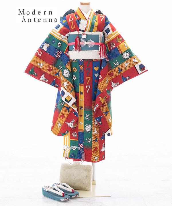 七五三(七歳)   【Modern Antenna】赤とオレンジにラッキー7柄着物×青碧作り帯   W-G-7-4