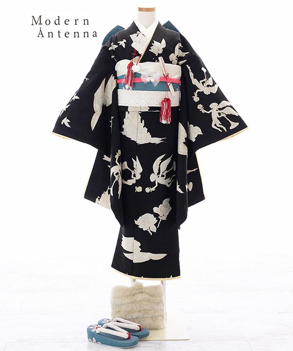 七五三(七歳女の子)着物レンタル|【Modern Antenna/モダンアンテナ】黒に天使とお城柄着物×青碧作り帯