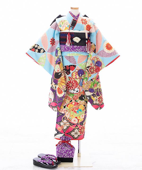 七五三(七歳女の子)着物レンタル|【榛原】水色に七宝と分箱柄着物×黒作り帯