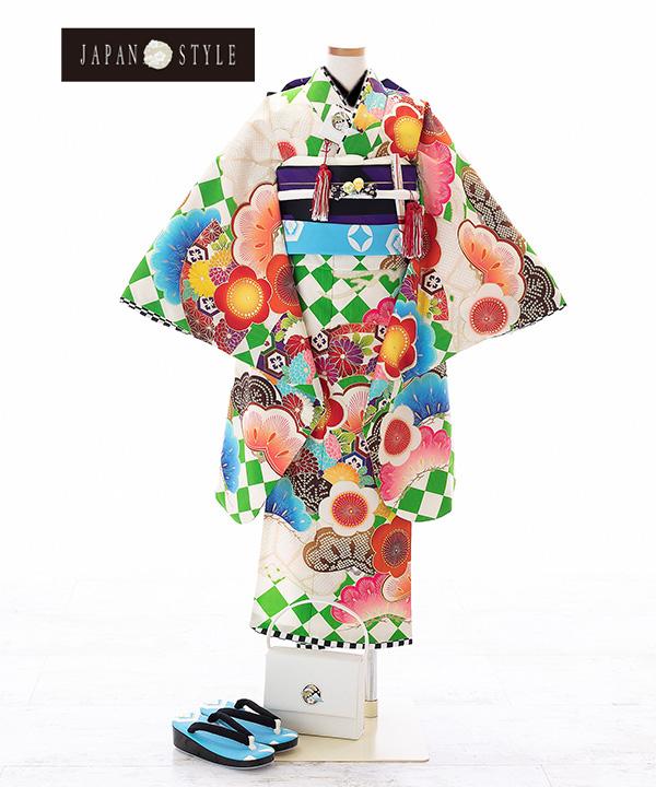 七五三(七歳女の子)着物レンタル|【JAPAN STYLE×松坂大輔】白に松と梅柄着物×紫作り帯