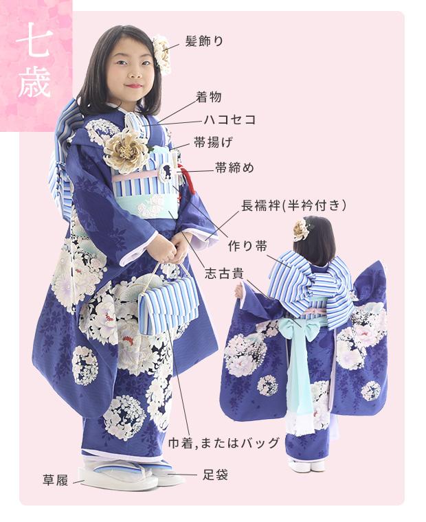七歳女の子用四つ身着物レンタル