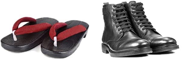草履とブーツの写真